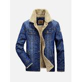 Pánská zimní tlustá teplá fleece multi kapesní džínová modrá bunda