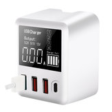 Bakeey 30W QC3.0 PD Display digital com múltiplas portas de carregamento rápido US Plug Travel EU UK USB HUB adaptador de carregador para iPhone X XS Huawei P30 Mate 20Pro Mi8 Mi9 S10 S10+
