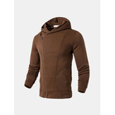 Mens Zip Up Pure Color Soft Moletons com capuz para esporte