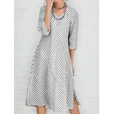 Women Long Sleeve O-neck Stripe Casual Dress