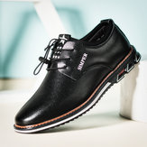 Men Cow Leather Stitching Täglich Casual Business Oxfords
