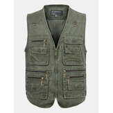 Mens Outdooors TORCIA Solid Color Multi Tasca Photojournalist Cotone Vest Gilet Grande M-5XL