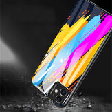 Bakeey Oil Painting Colorful Glossy Tempered Glass with 3D Metal Matte Lens Ring Shockproof Protective Case for iPhone 11 6.1 inch