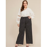 Women Plaid Print High Waist Wide Leg Straight Pants