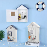 Mediterranean House Shaped Wooden Key Cabinet Box Holder Organizer Wall Mount Tool Boxs