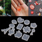 12 Patterns Silicone Mold Resin Pendant Jewelry Necklace Hand Crafts Making