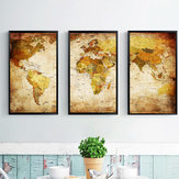 Miico Hand Painted Three Combination Decorative Paintings World Map Wall Art For Home Decoration