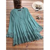 Geplooide blouse met V-hals en kant