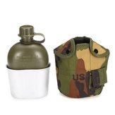 Garrafa de água de exército tático de alumínio de cobertura pesada bebe copo