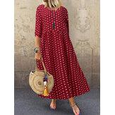 Robe longue ample à col rond et manches 3/4 à pois pour femme
