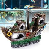 Aquarium Ornament Wreck Sailing Boat Sunk Ship Destroyer Fish Tank Cave Decorations