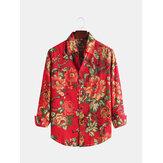 Chemises à manches longues en coton imprimé pour hommes, printemps-automne