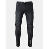 Biker Fold Buracos Zipper Slim Ripped Jeans