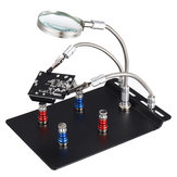 Universal 3 Flexible Arms Soldering Station Holder PCB Fixture Helping Hands with 4Pcs Magnetic Column
