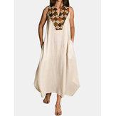 Sleeveless Print Patchwork Summer Beach Long Maxi Dress