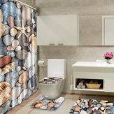 180x180cm Colorful Vintage Bathroom Shower Curtain Toilet Cover Mat Beach Style