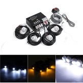 4 LED Bulbs Hide Away Emergency Hazard Warning Flash Strobe Light Kit 80W 12V Universal