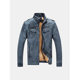 Winter Velvet Plus Thick Warm PU Motor Washed Leather Jacket