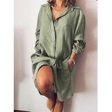 Women Loose Casual Long Sleeve V-neck Button Pocket Shirt Dress