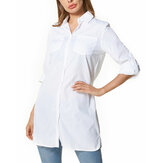 Women Causal Button Down Long Sleeve Midi Shirt Dress