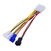 12.5cm 4Pin 1 to 4 Small 3Pin CPU Cooling Fan 3 Speed Control Cable Power Cable Power Adapter Extension Lead Wire