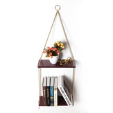 35cm/45cm 2 Layers Solid Wood Rope Hanging Wall Shelf Vintage Floating Storage Rack Wall Mount Bookshelf Home Decorations