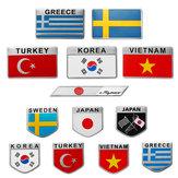 Aleación de aluminio 3D Coche Auto Body Sticker Decals Turquía / Suecia / Grecia / Corea / Vietnam / Japón Bandera