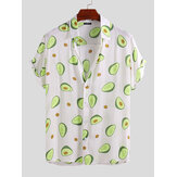 Mens Avocado Printed Summer Hawaiian Style Casual Vacation Fashion Shirts