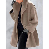 Women Winter Shawl Collar Elegant Coats with Button
