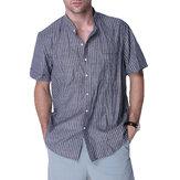 Camicie da lavoro a righe casual da uomo Camicetta abbottonata a righe vintage V Collo Top a tee