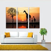 Original Miico Hand Painted Three Combination Decorative Paintings Giraffe In The Sunset Wall Art For Home Decoration