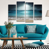 Miico Hand Painted Four Combination Decorative Paintings Blue Sea Wall Art For Home Decoration