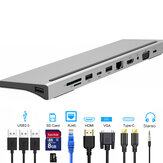 Bakeey 11-in-1 USB-C Hub Adapter with 3 * USB 3.0/USB-C/87W Type-C PD Charging/4K HD Display/VGA/Ethernet RJ45 Port/3.5mm Audio Jack/Memory Card Readers