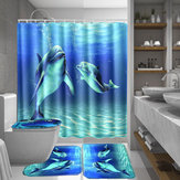 Ocean Dolphin Waterproof Bathroom Shower Curtain Non-Slip Rug Set Pedestal Rug Lid Toilet Cover