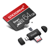StickDrive 64GB Class 10 High Speed TF Memory Card with Camera Card Adapter+ 3 In 1 Type-C USB 2.0 Micro USB Memory Card Reader