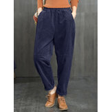 Corduroy Solid Color Pockets Loose Plus Size Pants