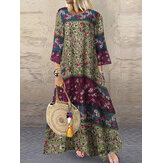 Women 3/4 Sleeve O-neck Loose Print Maxi Dress