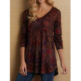 Long Sleeved V-neck Casual Print Blouse