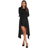 Women Irregular Hem Gloves Tuxedo Casual Dress