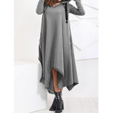 Women Irregular Hem Hooded Long Sweatshirt Casual Dress with Pockets
