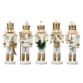 5Pcs Wooden Nutcracker Soldier Handcraft Puppet Doll Toy Ornament Christmas Gift Home Room Decorations
