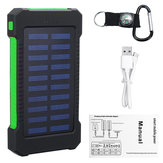 5000Mah Portable Solar Power Bank Dual USB Efficient Charger with LED Lamp Compass Climbing Hook