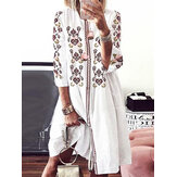 Women Bohemia Flower Print Vintage Casual Dress