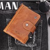 Men RFID Antimagnetic Vintage Genuine Leather 13 Card Slots