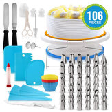 106 STKS Set Meerkleurige DIY Taartdecoraties Draaitafel Icing nozzles Mold Spatel Tassen Gereedschap Kit Voor Party