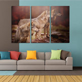 Miico Hand Painted Three Combination Decorative Paintings Three Dogs Wall Art For Home Decoration