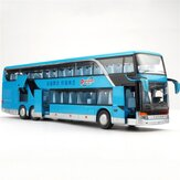 Double-decker Bus Vehicles Children's Toy Alloy Car Diecast Model 1:50 Sound and Light Pull Back Large Bus