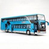 لعبة حافلة الأطفال ذات الطابقين أشابة سيارة دييكاست نموذج 1:50 صوت و ضوء سحب حافلة كبيرة