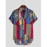 Mens Color Block Geometry Print Turn Down Collar Casual Shirts