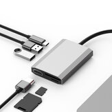 SHIWEI tw6a 6 in 1 USB-C Data Hub with 2-Port USB 2.0 TF SD Card Reader USB-C PD Charging HDMI 4K Display for MacBooks Notebooks Phone
